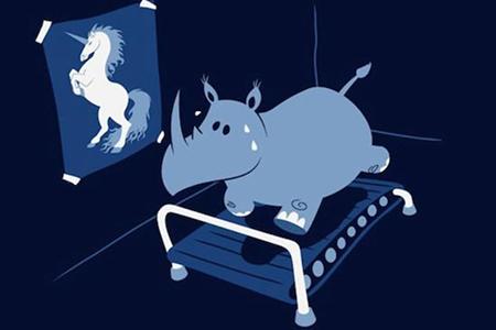 disegno di un rinoceronte sudato su tapis roulant
