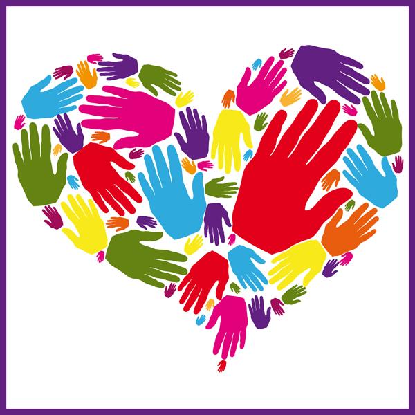 Gentilezza cuore rappresentato con tante mani colorate