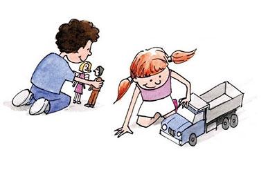 disegno in cui maschietto gioca con le bambole e femminuccia gioca con un camion
