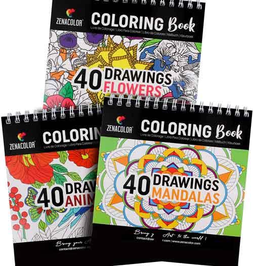 tre libri da colorare